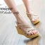 พร้อมส่ง : รองเท้าส้นเตารีดหน้าสาน (สีครีม) thumbnail 1