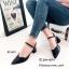 รองเท้าส้นตันรัดข้อทรงหัวแหลม (สีดำ) thumbnail 2