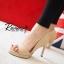 รองเท้าส้นสูงเปิดหน้า (สีครีม) thumbnail 3