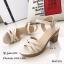 รองเท้าส้นตันหน้าสานสไตล์ลำลอง (สีกากี) thumbnail 5