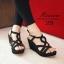 รองเท้าส้นเตารีดหน้าสานกำมะหยี่ (สีดำ) thumbnail 3