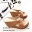 รองเท้าส้นเตารีดหนังนิ่มสายไข้ว (สีครีม) thumbnail 10
