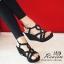 รองเท้าส้นเตารีดหน้าสานกำมะหยี่ (สีดำ) thumbnail 4