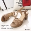 รองเท้าส้นตันหน้าสานสไตล์ลำลอง (สีกากี) thumbnail 3