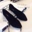 รองเท้าคัทชูส้นแบนแต่งสายรัดคริสตัล (สีดำ) thumbnail 8