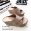 รองเท้าส้นเตารีดสวมไข้ว (สีครีม) thumbnail 3