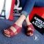 รองเท้าส้นเตารีดหนังนิ่มคาดหน้า (สีแดง) thumbnail 2