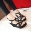 รองเท้าส้นเตารีดหน้าสานกำมะหยี่ (สีดำ) thumbnail 2