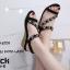 รองเท้าแตะเสริมส้นแต่งดอกไม้ (สีกรม) thumbnail 6