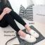 รองเท้าทรงสวมปักหน้าแมว (สีขาวผ้ากระสอบ) thumbnail 6