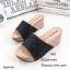 รองเท้าแตะส้นเตารีดแต่งกลิตเตอร์ (สีดำ) thumbnail 1