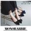 รองเท้าคัทชูส้นแบนกำมะหยี่โบว์มัด (สีดำ) thumbnail 7