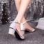 พร้อมส่ง : รองเท้ารัดส้นผ้ากากเพชร (สีทอง) thumbnail 6