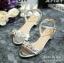 พร้อมส่ง : รองเท้ารัดส้นประดับเพชร (สีเงิน) thumbnail 1