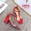 รองเท้าส้นตัน Style Zara T-Strap (สีแดง) thumbnail 4