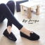 รองเท้าส้นขนมปังหน้า V (สีดำ) thumbnail 2