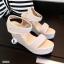 รองเท้าส้นเตารีดลาย Pokka Dot (สีครีม) thumbnail 7