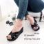รองเท้าส้นเตารีดหน้าสานสไตล์ลำลอง (สีดำ) thumbnail 1