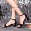 พร้อมส่ง : รองเท้ารัดส้นผ้ากากเพชร (สีทอง) thumbnail 10