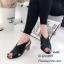 รองเท้าส้นตันสายไขว้สไตล์ลำลอง (สีดำ) thumbnail 3