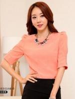 เสื้อทำงานสีชมพู คอกลม แขนสามส่วน เข้ารูป ผ้าเกาหลี