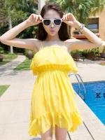 ชุดเดรสใส่ไปเที่ยวทะเลสีเหลือง ชุดโบฮิเมียน สายเดีี่ยว หน้าอกเย็บระบาย เอวยืด หน้าสั้น หลังยาว