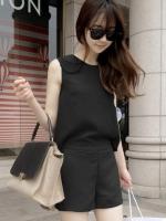 จั๊มสูทชุดเดรสกางเกงขาสั้นสีดำ เอวยืด แขนกุด ผ้าไลคร่า