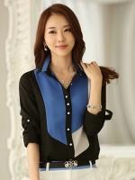 เสื้อเชิ้ตทำงานสีน้ำเงิน แขนยาว คอปก กระดุมหน้า หน้าอกพิมพ์ลายสีสัน สวยเก๋