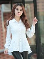 เสื้อเชิ้ตทำงานสีขาว แขนยาว คอปก ชั้นนอกเย็บด้วยผ้าลูกไม้ สวยหรู