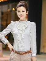 เสื้อเชิ้ตทำงานสีขาว แขนยาว คอเต่า เอวเข้ารูป หน้าอกเย็บระบาย สวยหวาน