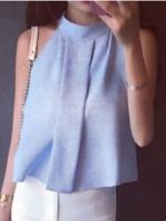 เสื้อแฟชั่นสีฟ้า ผ้าชีฟอง แขนกุด คอเต่า ทรงปล่อย สวย เก๋ๆ