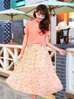 ชุดเดรสยาวสีส้ม แขนสั้น เอวยืด ผ้าชีฟอง กระโปรงพิมพ์ลายดอกไม้