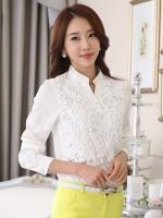 เสื้อเชิ้ตทำงานผู้หญิงสีขาว แขนยาว ตัวเสื้อผ้าลูกไม้ คอวี สวยๆ 5-0099-ขาว