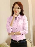 เสื้อเชิ้ตทำงานผู้หญิงสีชมพู แขนยาว มีลายที่ปกใน กระดุมหน้า ทรงเข้ารูป 5-0091-ชมพู