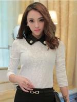 เสื้อทำงานผู้หญิงสีขาว แขนยาว รหัสสินค้า 13-8033-ขาว