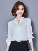 เสื้อทำงานผู้หญิงสีขาว แขนยาว คอวี รหัสสินค้า 13-T6123-ขาว