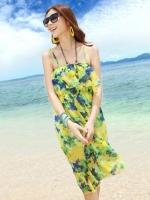 ชุดใส่ไปเที่ยวทะเลสีเขียว ชุดเดรสยาว ชุดโบฮีเมียน ผ้าชีฟอง สายเดี่ยว ลายดอกไม้ เอวยืด หน้าอกแต่งระบาย