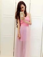 ชุดเดรสยาวน่ารักสีชมพู สายเดี่ยว กระโปรงผ้าตาข่ายบาง