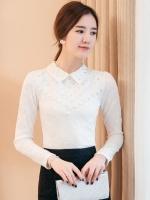เสื้อทำงานผู้หญิงสีขาว แขนยาว คอวี รหัสสินค้า 13-T6158-ขาว