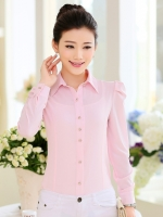 เสื้อเชิ้ตทำงานสีชมพูอ่อน แขนยาว คอปก กระดุมหน้า เอวเข้ารูป สวยหรู