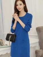 ชุดเดรสสั้นสีน้ำเงิน แขนยาว กระเป๋าหน้า สวยๆ 4-W774Q-น้ำเงิน