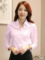 เสื้อเชิ้ตทำงานผู้หญิงสีชมพู แขนยาว คอปก กระดุม ทรงเข้ารูป แนวเรียบร้อย 5-0095-ชมพู
