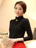 เสื้อทำงานเกาหลีสีดำ แขนยาว หน้าอกเย็บผ้าลูกไม้ คอเต่า