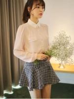 เสื้อเชิ้ตทำงานสีชมพู แขนยาว ผ้าชีฟอง คอปก กระดุมหน้า