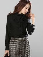 เสื้อทำงานดูดีสีดำ คอเต่า แขนยาว ผ้าชีฟอง ประดับริ้วผ้าด้านหน้า