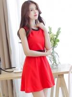ชุดเดรสสั้นสีแดง ผ้าโพลีเอสเตอร์ แขนกุด คอกลม เอวเข้ารูป สวยน่ารัก