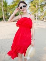 ชุดเดรสใส่ไปเที่ยวทะเลสีแดง ชุดโบฮิเมียน สายเดีี่ยว หน้าอกเย็บระบาย เอวยืด หน้าสั้น หลังยาว